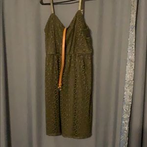 Maurices Green eyelet dress in olive green w/ Belt